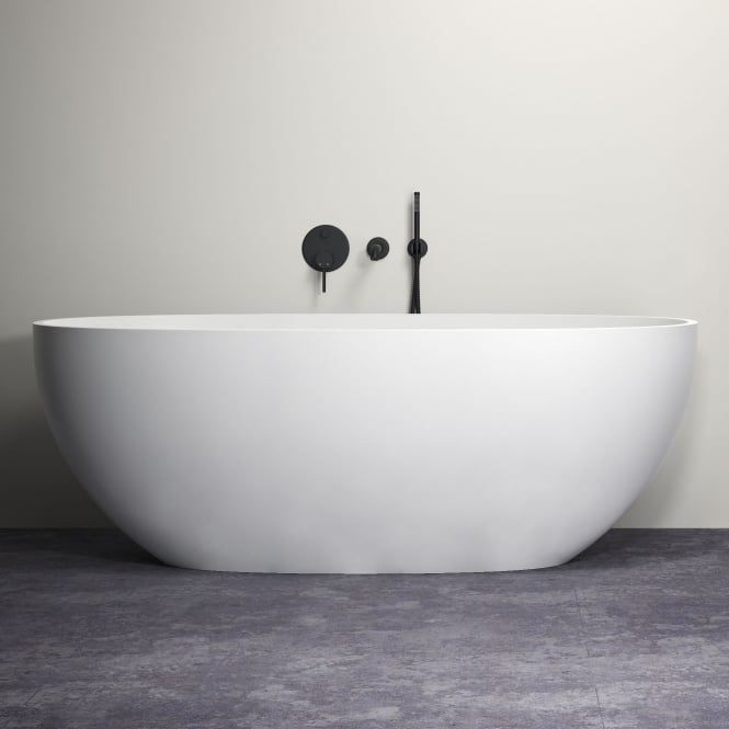 Lusso Luxe Wall Mounted Bath Tap With Valve And Handheld Shower Kit Matte  Black