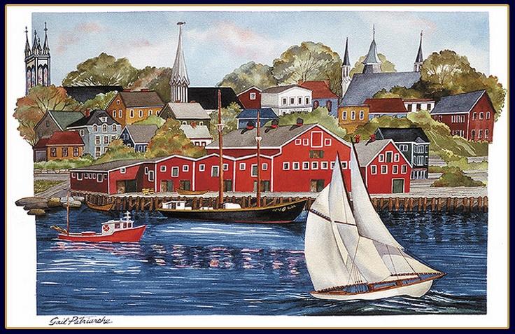 Painting of Lunenburg Harbour Scene
