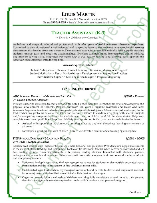 sample teacher resumes view page two of this teacher assistant resume sample - Sample Resume For Teacher Assistant