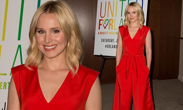 Kristen Bell puts on a vibrant display in stylish scarlet jumpsuit as she pays tribute to victims of recent tragedy in Orlando | Daily Mail Online