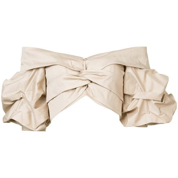 Johanna Ortiz Beige 'Mestizo' Off Shoulder Top ($850) ❤ liked on Polyvore featuring tops, crop top, beige, pink top, pink off the shoulder top, flutter sleeve top, ruffle sleeve top and twist top