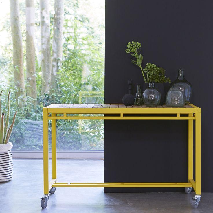 Console en bois recyclés et métal 120 atelier yellow