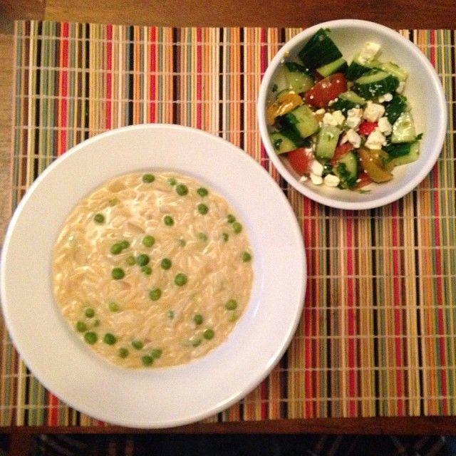 Avgolemono Soup with tomato, cucumber, feta salad #SpringIntoDinner ...