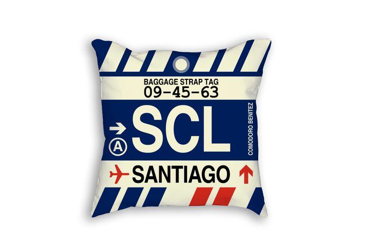 SCL Santiago Airport Code Baggage Tag Pillow