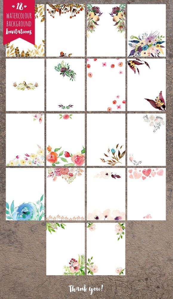 Hello I present 18 PNG files invitation backgrounds ready to print. Send your guests elegant invitations: parties, birthdays, weddings, save the date, celebration etc - with your own text