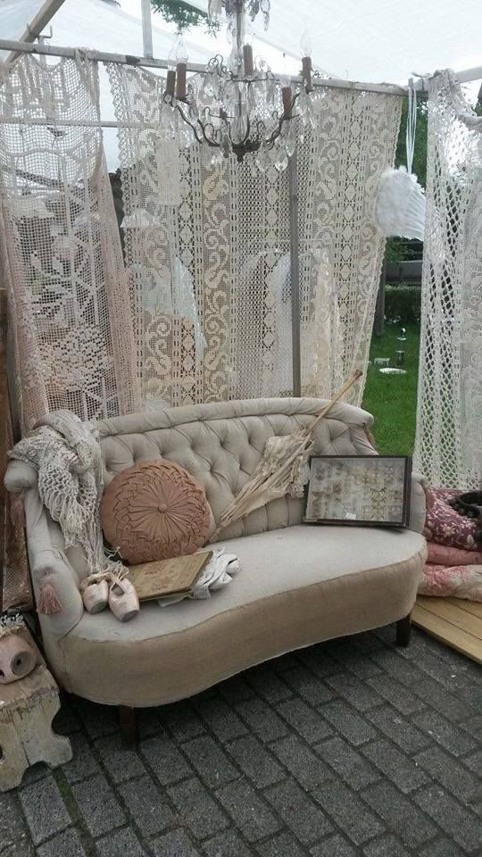 Beautiful lace panels for curtains.  I have gathered quite a few lace curtain s like this for when we move.  ~  I like this idea.