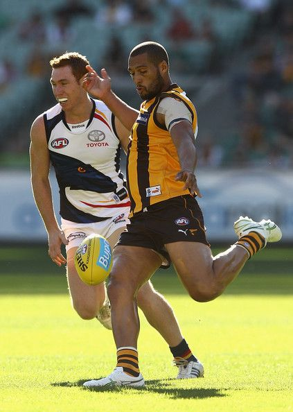 Josh Gibson Josh Gibson of the Hawks kicks during the round three AFL match between the Hawthorn Hawks and the Adelaide Crows at the Melbourne Cricket Ground on April 15, 2012 in Melbourne, Australia.