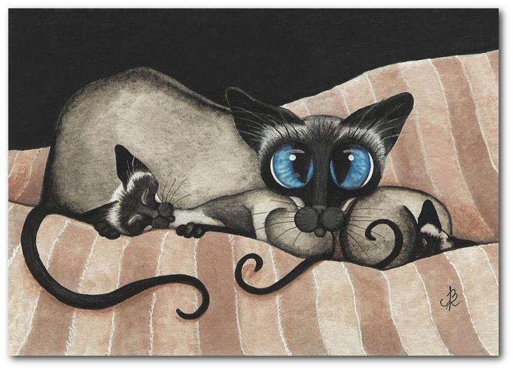 Siamese Cat Kittens Cuddling Family Pet ArT by AmyLyn Bihrle (Etsy)