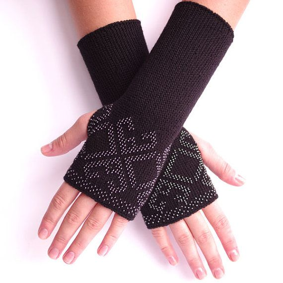 Merino wool beaded fingerless gloves wrist warmers arm by evarica, $69.00