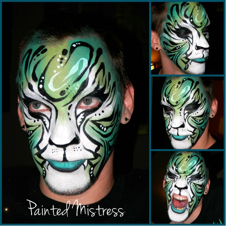 Stylized blue and green tiger face paint | My Face & Body ...