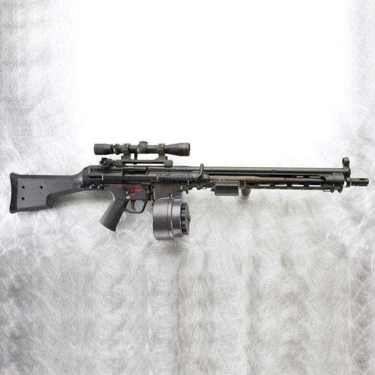"""Firearm: HK11E Light Machine Gun   Caliber: 7.62 x 51mm  Barrel Length: 17.71""""   Weight: 17 lb."""