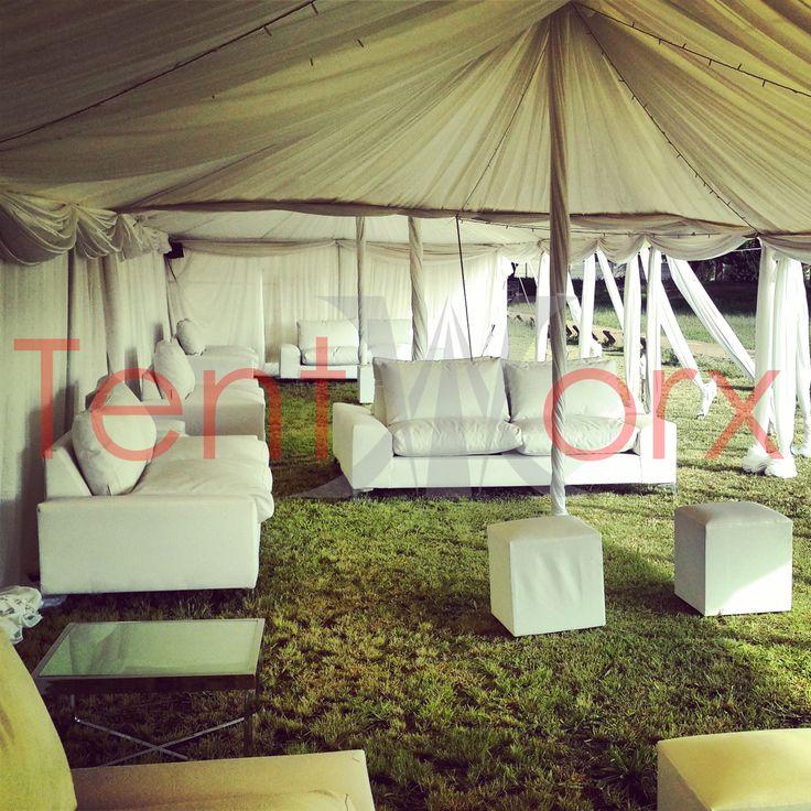 Lounge set-up inside a 5m x 20m Peg and pole tent #township #wedding