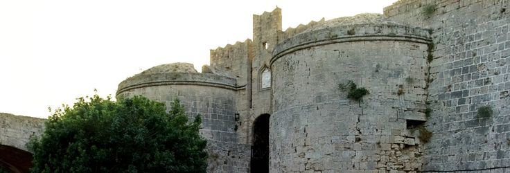 Rhodos. Medieval fortification and the ditch. Panoramic 360 photo.