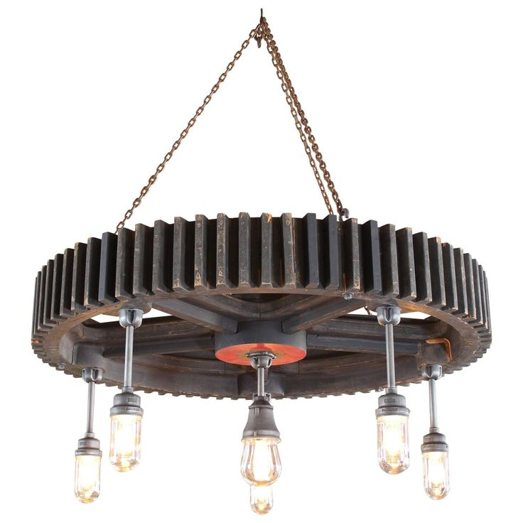 Vintage Industrial Wood Pattern and Explosion Proof Light Hanging Chandelier