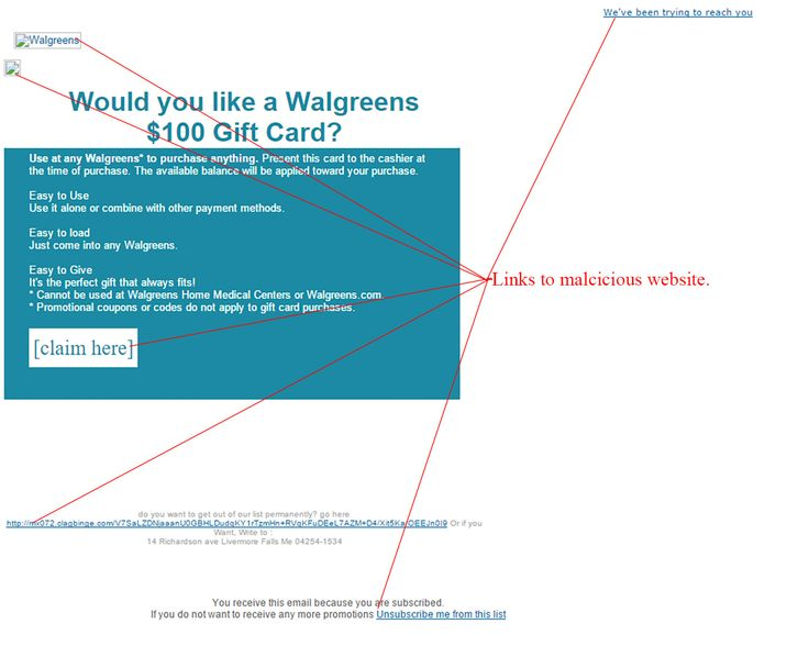Walgreens Gift Card Email Scam