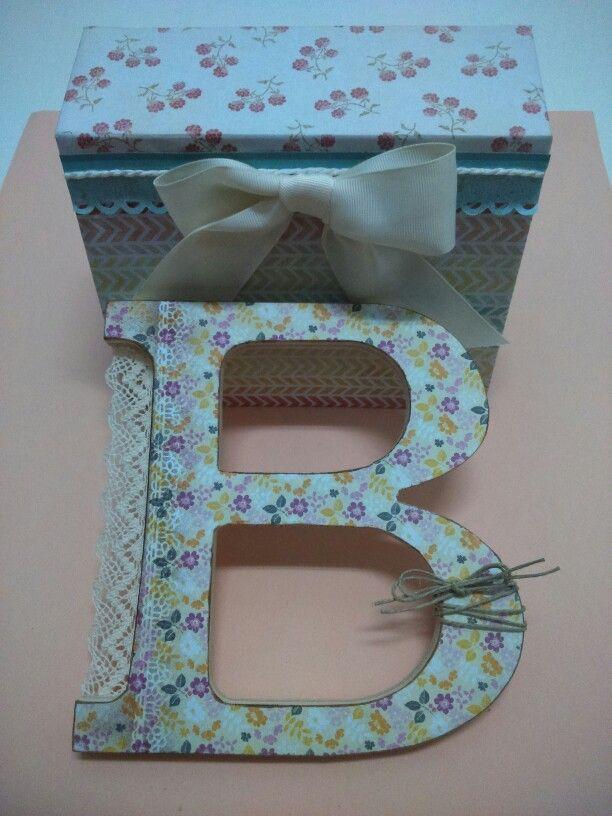 Letra de madera y joyero de cartón prensado. Belore Crafts
