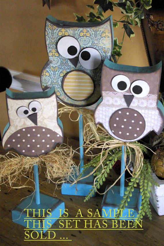 CUSTOM Made Primitive Wood Owl's  Trio  3 by CCsCountryCreations, $30.00