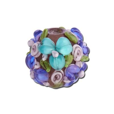 15mm Teal and Violet Allover Flowers Round Glass Beads