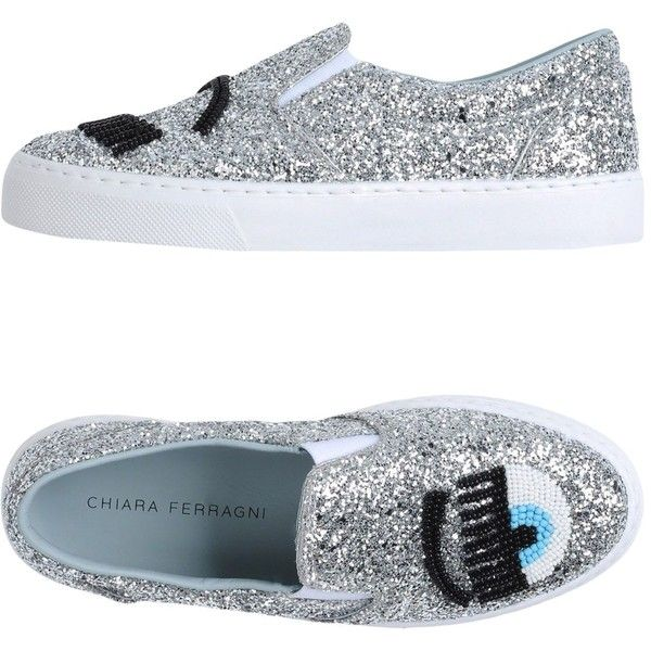 Chiara Ferragni Low-tops & Sneakers ($220) ❤ liked on Polyvore featuring shoes, sneakers, silver, slip-on shoes, glitter flat shoes, glitter slip on shoes, slip on sneakers and animal trainer