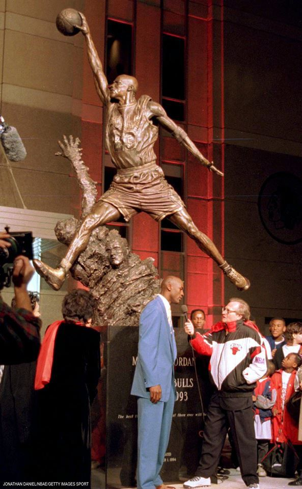 "This date in Bulls history: In 1994, ""Michael Jordan's Spirit"" statue was unveiled at the United Center before a national television audience."