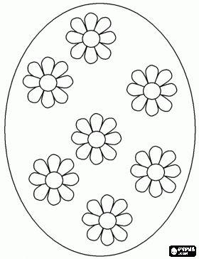 Groot Paasei versierd met madeliefjes kleurplaat
