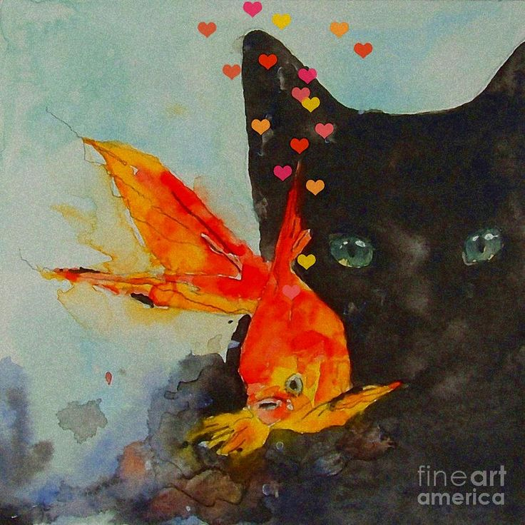 Black Cat And The Goldfish Painting by Paul Lovering