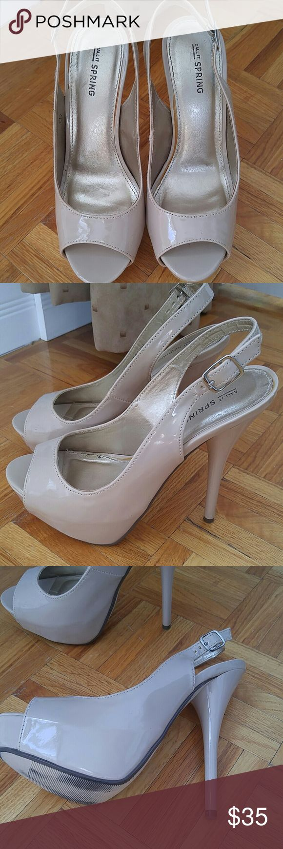 SLINGBACK SHOES Open toe, nude color and really comfortable.Goes with everything. Awesome with trousers, great with special occasion dresses.  Was worn once for a wedding. Shoes Heels