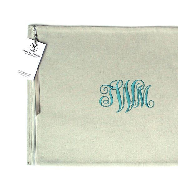 """Silver Storage Bag 12"""" x 16"""" - Anti Tarnish - Monogrammed - for Sterling Silver Platter, Silver Tray - Simple Elegance Collection Gray"""