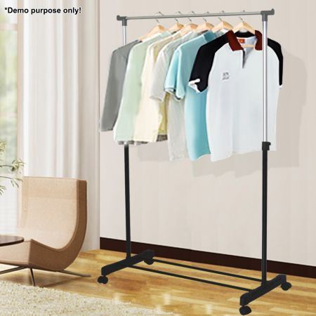 Portable Multi-Function Metal Single Rail Clothes Rack - Save 40% - Easy to Assemble, Height Adjustable.