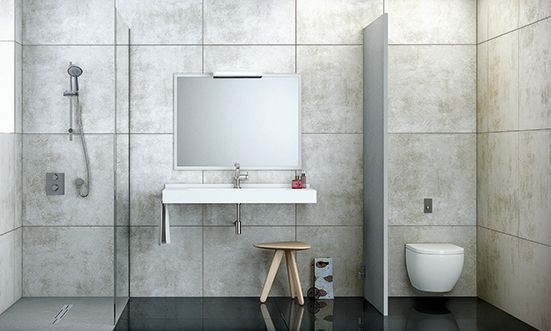 Silex Privilege shower tray, Fontana Collection and Wall Fiora