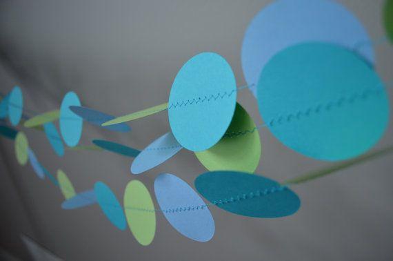 Paper garland Birthday decoration Blue and Green by MilestonesandPebbles, $12.98 https://www.etsy.com/shop/MilestonesandPebbles?ref=related-shop-35