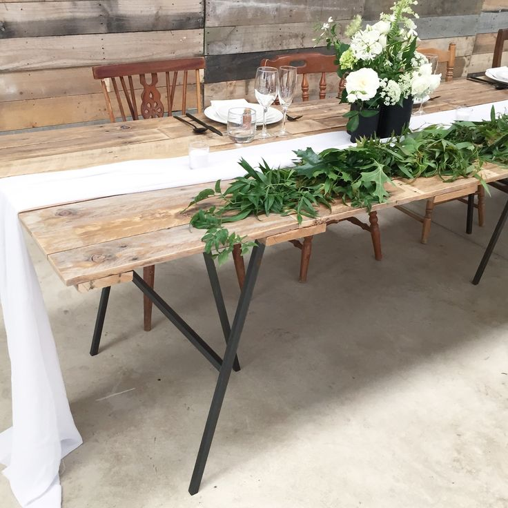 Wedding table with mild steel leg frames designed and made by Freestand