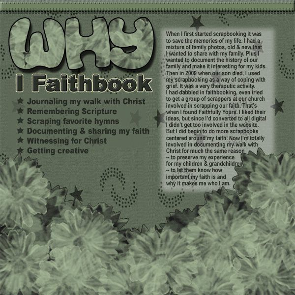 A good idea for the first page of my Faithbook.