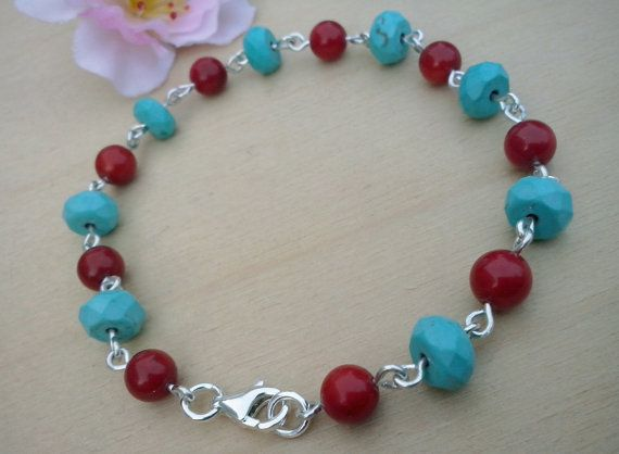 Handmade Bracelet  with Coral Turquoise  and sterling by TommyDark