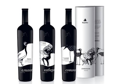 wine packaging die cut bird