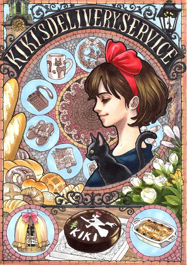 Gorgeous art nouveau-inspired portraits of Miyazaki's characters, Kiki's delivery service