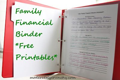 """Printables for a family financial binder. Great way to goal plan for the """"big stuff""""- retirement, debt reduction, college savings, etc. Also, a printable budget sheet."""