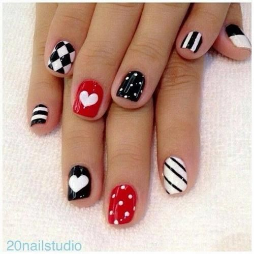 31 Lovely Valentine's Day Nail Art Ideas -- pined for the first nail and the checkered