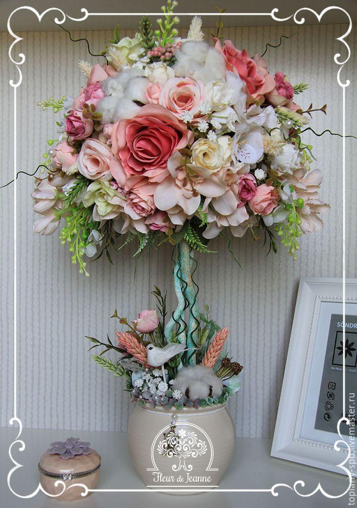 """Купить Топиарий """"Нежность рассвета""""(3), дерево счастья - розовый, топиарий…"""