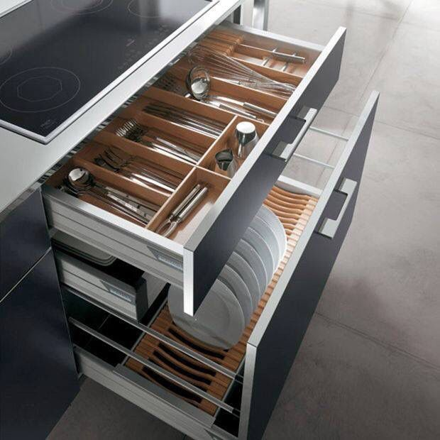 Plate and flatware in drawer organization
