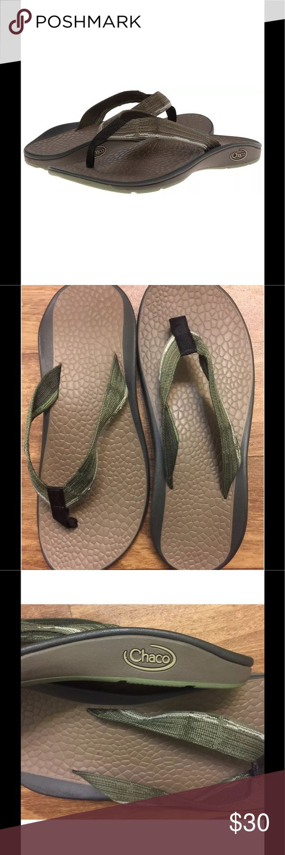 NWOT Chaco Size 14 Men's Fathom Flip Flops Sandals NWOT Chaco Size 14 Men's Fathom Flip Flops Sandal Seeing Green Gray Eco Tread   Rubber sole Flip-flop featuring water-friendly webbing strap and logo at side heel Luvseat polyurethane footbed with slip-resistant diamond pattern Non-marking EcoTread outsole with 25% recycled rubber New without box or tag - never been worn - in perfect condition Original retail price $94.95 Chaco Shoes Sandals & Flip-Flops