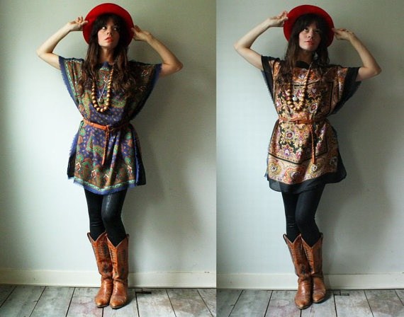 handmade batwing tunic vintage silk caftan by WhatsOliviaWearing, $70.00