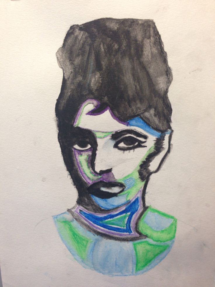 Pop art inspired Audrey Hepburn, water colour.