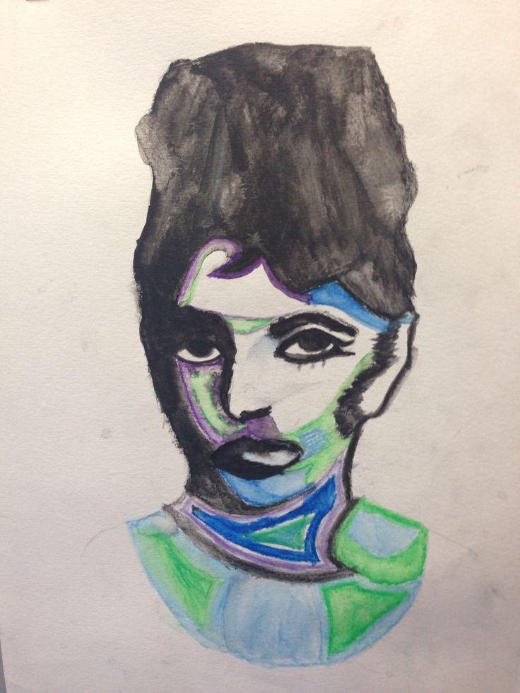 Pop art inspired Audrey Hepburn, water colour.