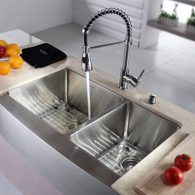 """Found it at Wayfair - Kitchen Combo 33"""" x 25"""" Double Bowl Stainless Steel Kitchen Sink with Faucet"""