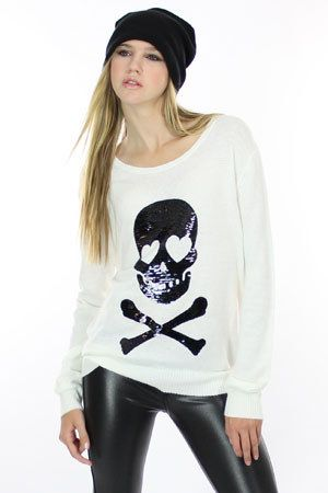 Wildfox Brand White with Black Sequin Skull Sweater