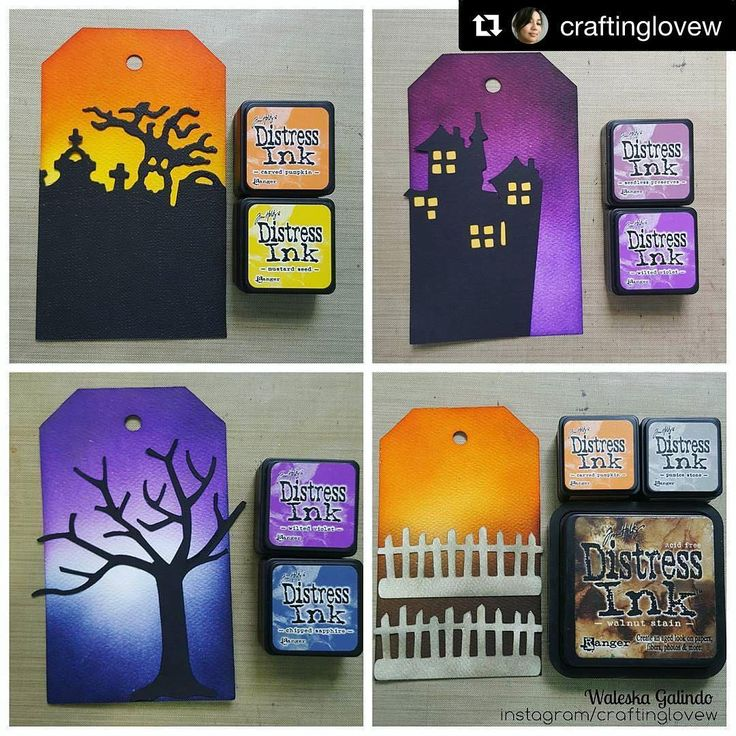 "We love these ""spooky"" Halloween Distress Ink blends! #distressink #timholtz #rangerink"