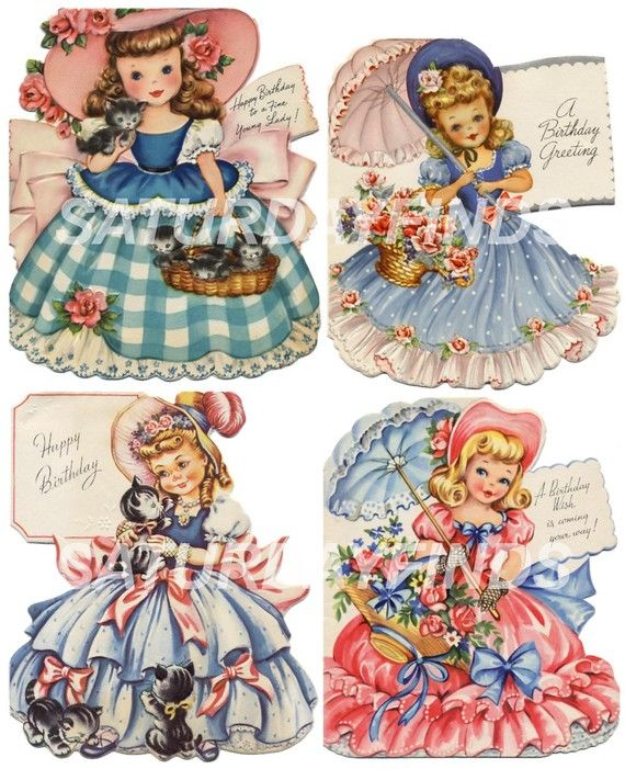 1780 best images about Vintage Greeting Cards Illustrations – Vintage Birthday Cards