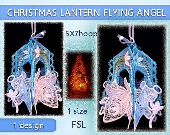 Angel christmas lantern lace 3d  FSL  5x7hoop  by EmbroideryRady