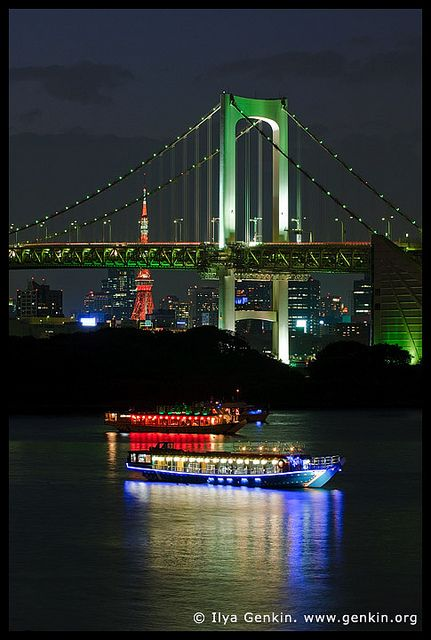 Rainbow Bridge at Night, Odaiba, Tokyo, Kanto Region, Honshu Island, Japan